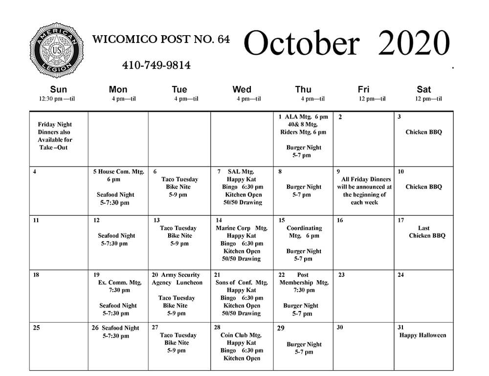 October 2020 Events